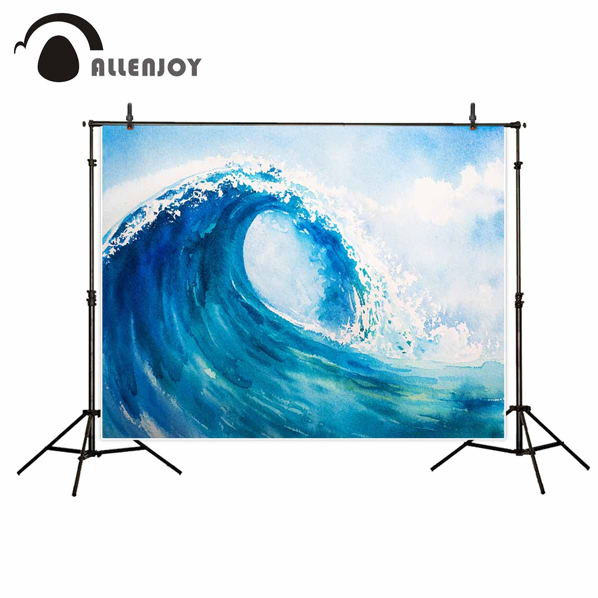 Allenjoy photography backdrops Blue wave background watercolour photo backdrop background cloths photography vinyl