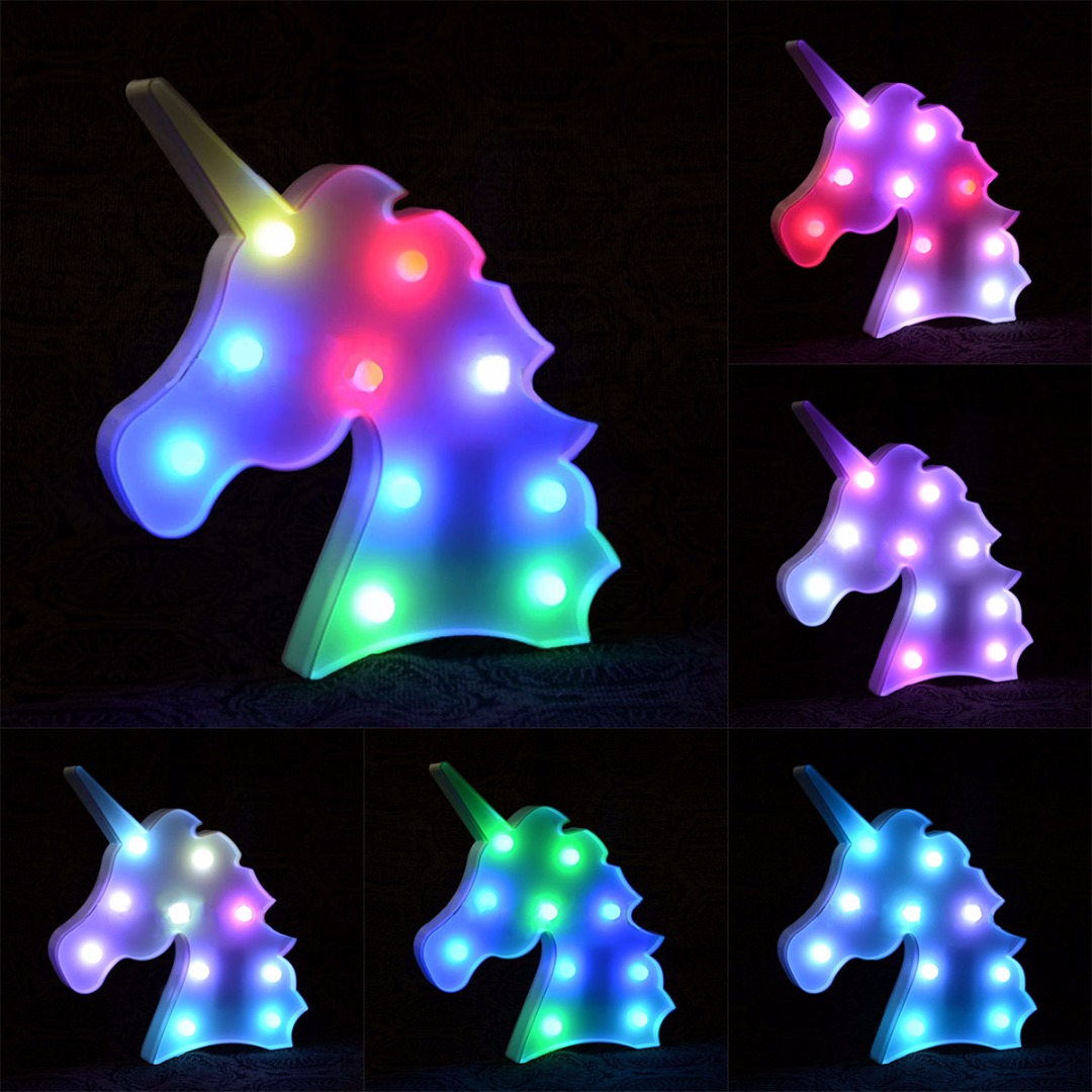 IKVVT Creative Colorful Unicorn Head LED Night Light Up Table Lamp Kids Bedroom Home Decor colorful waterdrop cartoon ombre led night light