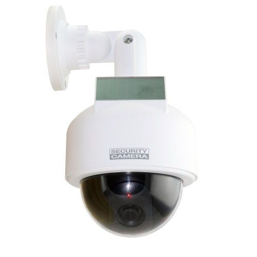 White Dummy Solar Powered Dome CCTV Camera Waterproof with Flashing LED Lights
