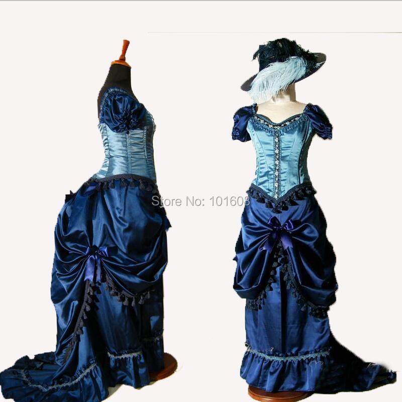 Tailored!Royal Blue Satin French Duchess Civil war Theatre Southern Belle DRESS Tartan Victorian Colonial dresses HL 294