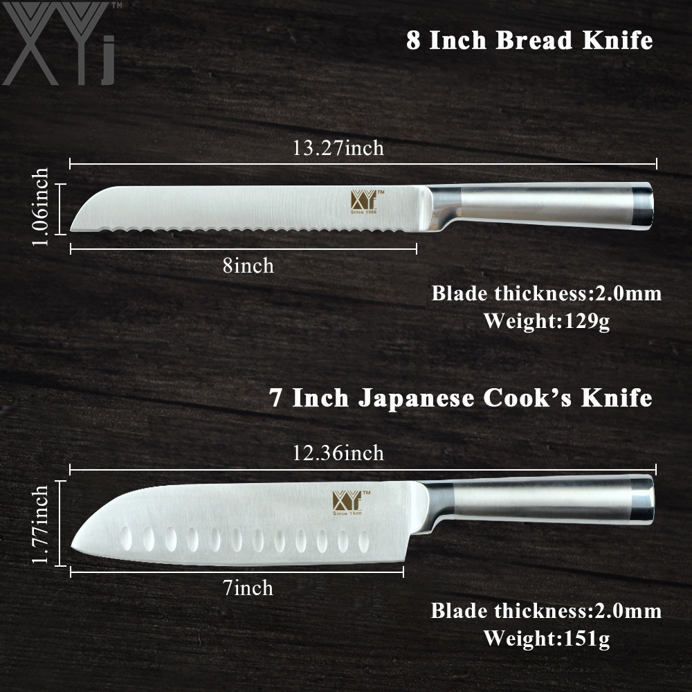 XYj Japanese Style Stainless Steel Kitchen Knife Paring Utility Santoku Bread Chef Slicing knife High Carbon Steel Cooking Knive in Kitchen Knives from Home Garden