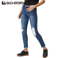 GLO STORY Brand 2016 Skinny Jeans Chic Sport Woman Jeans Denim Pencil Pants WNK 3300