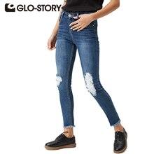 GLO-STORY женские рваные джинсы 2017 Узкие повседневные American Apparel Высокая Талия рваные джинсовые женские брюки WNK-3300