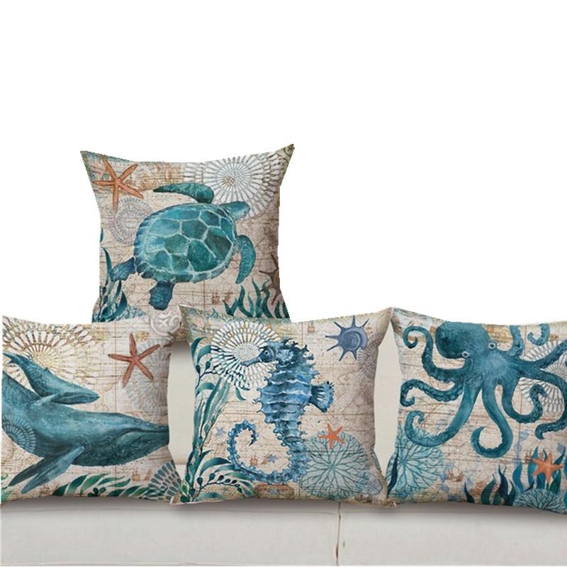 Sea Fish Linen Cotton Pillow Cover Turtle Octopus Home Decor Cushion