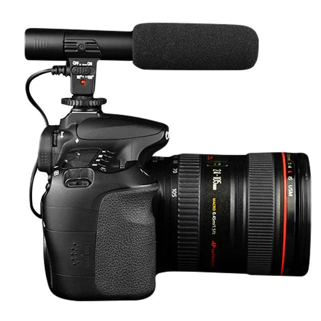 Профессиональные Черный Студия Цифровой Видео Записи Стерео 3.5 мм Микрофон Для Камеры