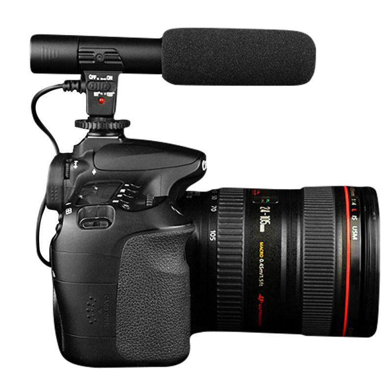 Professional Black Studio Digital Video Stereo Recording 3 5mm Microphones For Camera