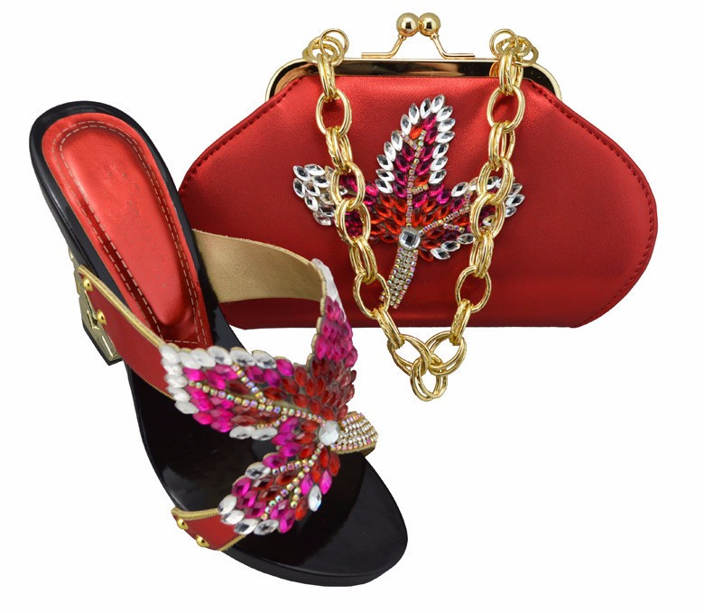 2017 New Coming African Sandals Italian Shoes and Bags To Match Shoes with Bag Set Italian Matching Shoes and Bags Sets SL08 Red 2017 new coming italian fashion black ab