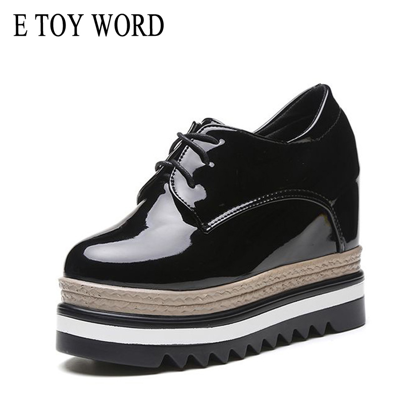 E TOY WORD Spring Autumn platform shoes Height Increasing 10cm Waterproof PU Leather Women Shoes Lace up Retro Flats Woman word up