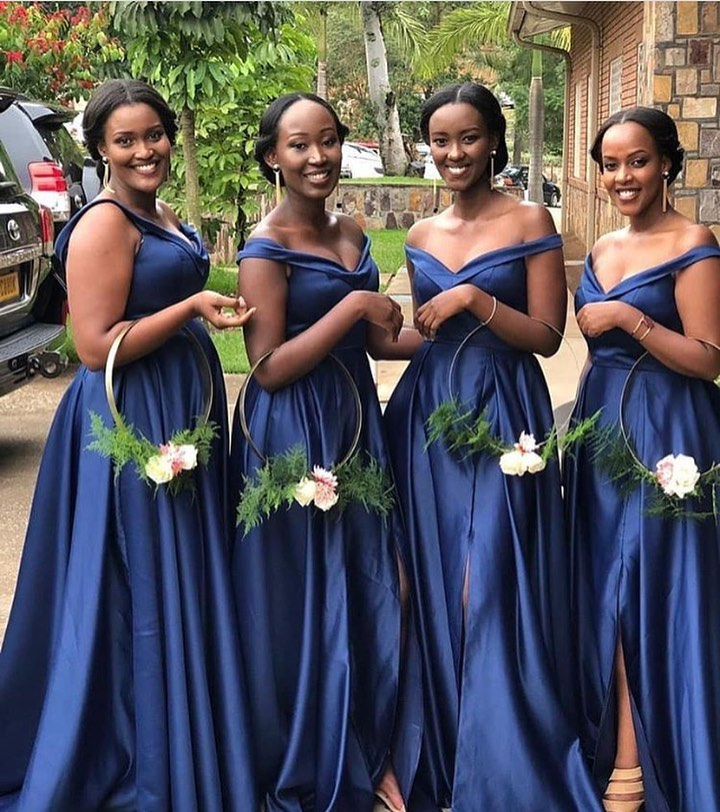 African Off The Shoulder Navy Blue   Bridesmaid     Dresses   Long 2019 Sexy V Neck Side Slit Prom   Dresses   Maid of Honor Guest   Dresses