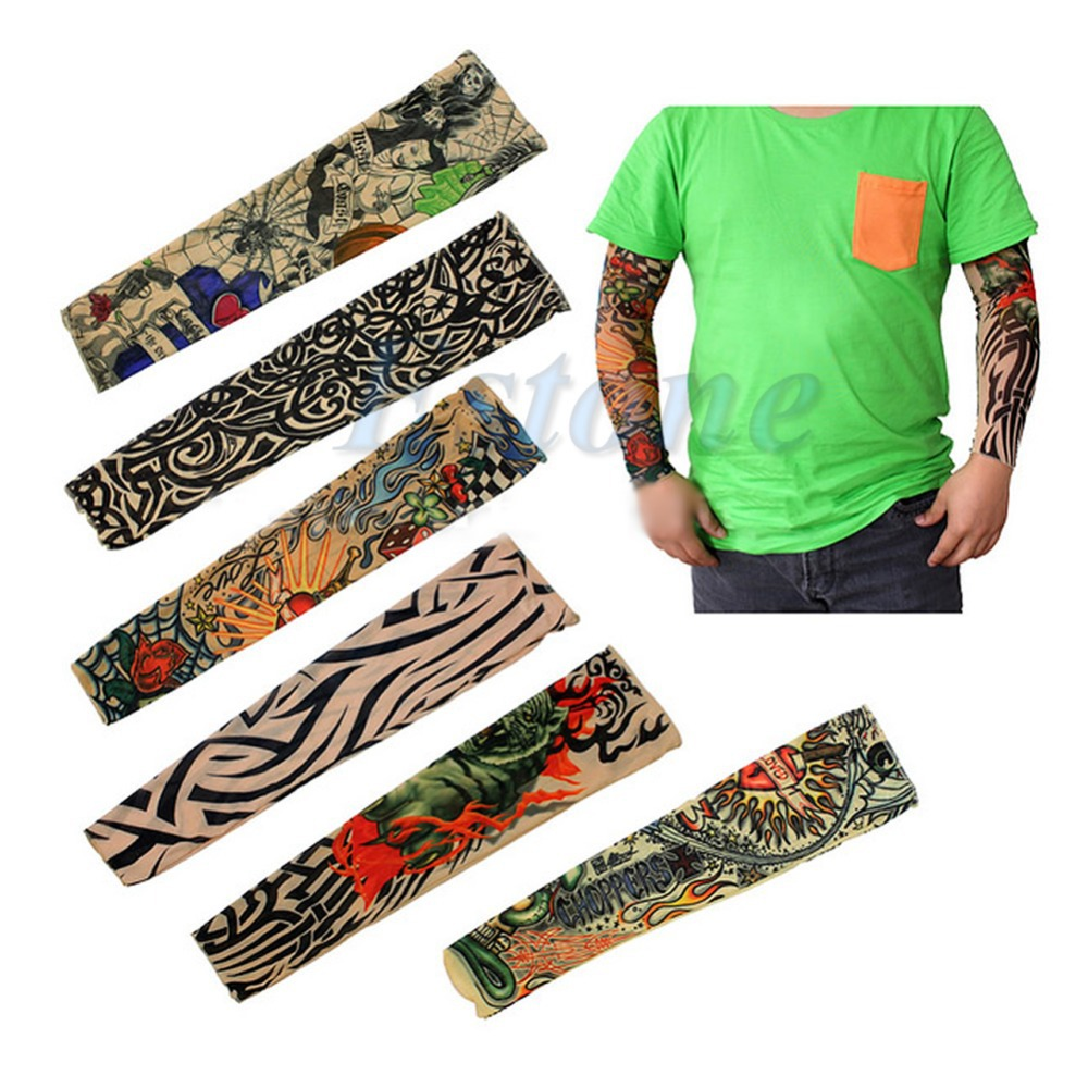 Lot 6 Pcs Fake Temporary Party Realistic Tatoo Slip On Tattoo Arm Covers Sleeves Drop ship