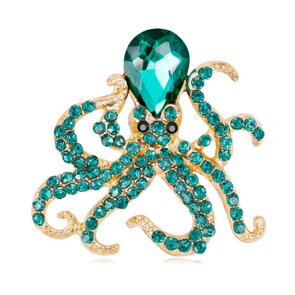 June New Octopus Devilfish Brooch Fashion Personality Alloy Rhinestone Marine Life Animal Brooch Brooch Pin for Women