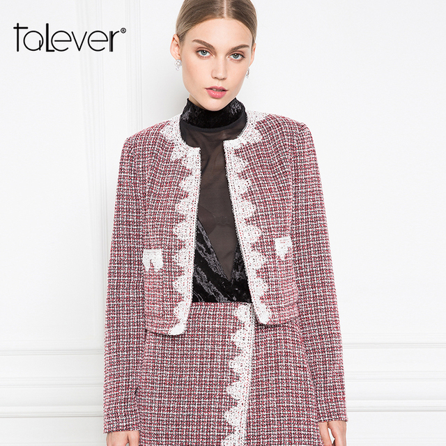 Women Autumn Plaid Tweed Short Jackets Female Appliques Long Sleeve Wine Red Warm Jacket Outwear Women's Coat Jacket Talever