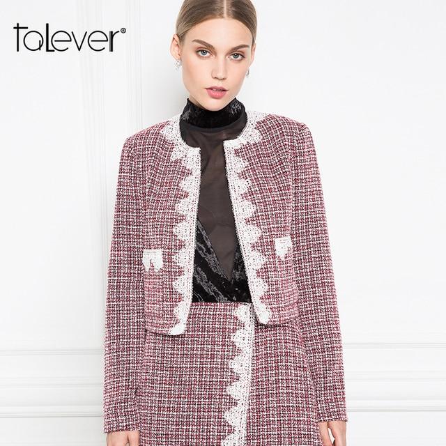 Women Autumn Plaid Tweed Short Jackets Female Appliques Long Sleeve Wine Red Warm Jacket Outwear Women's Coat Jacket Talever