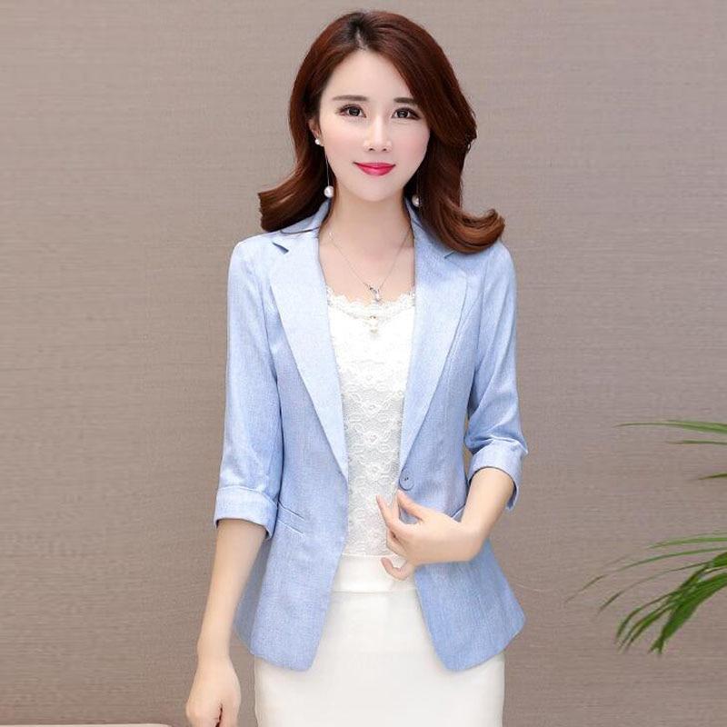 LXMSTH 2018 Spring Summer Blazer Women Korean Three Quarter Slim Office Lady Blazer Casual Plus Size Short Woman Coat Pocket