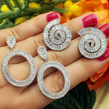 GODKI Luxury Snails Circle Oval Design Clear Cubic Zirconia Women Engagement Earrings Studs Jewelry Party Gift