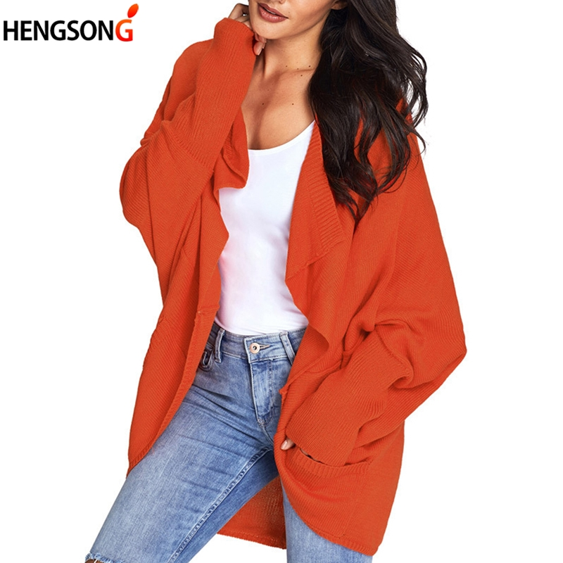 2018 Girl Casual Long Knitted Cardigan Autumn Korean Women Coat Loose Solid Color Pocket Design Sweater Jacket Red Black Gray