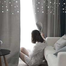 Custom Made Fashion Cotton Linen Curtains Star Hollow Out Curtains for Living Room Kid's Bedroom 90% Blackout Window Curtains