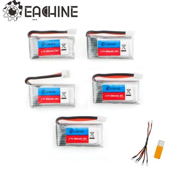 Pièces de rechange d'origine 5 pcs RC quadrirotor Eachine E011 3.7 V 260 MAH 30C batterie avec chargeur USB pour RC FPV modèles de Drone de course