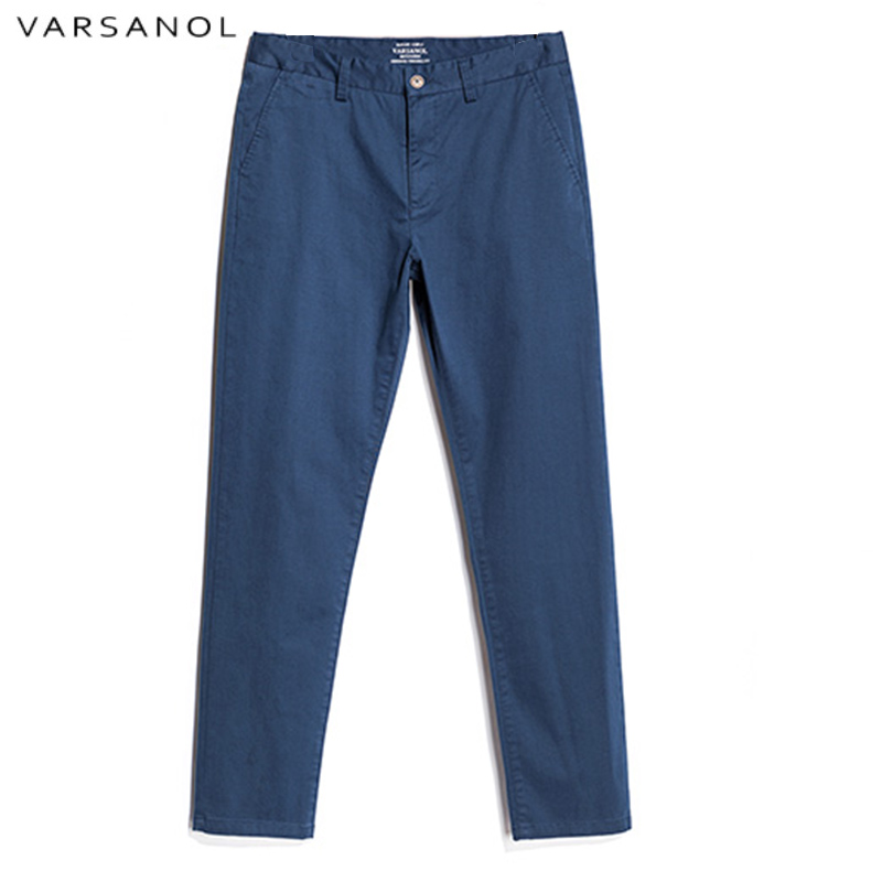 Varsanol Cotton Mens Pants Full Length Male Casual Trousers Long Mid Waistline Straight Spring and Summer New Arrivals hots2018