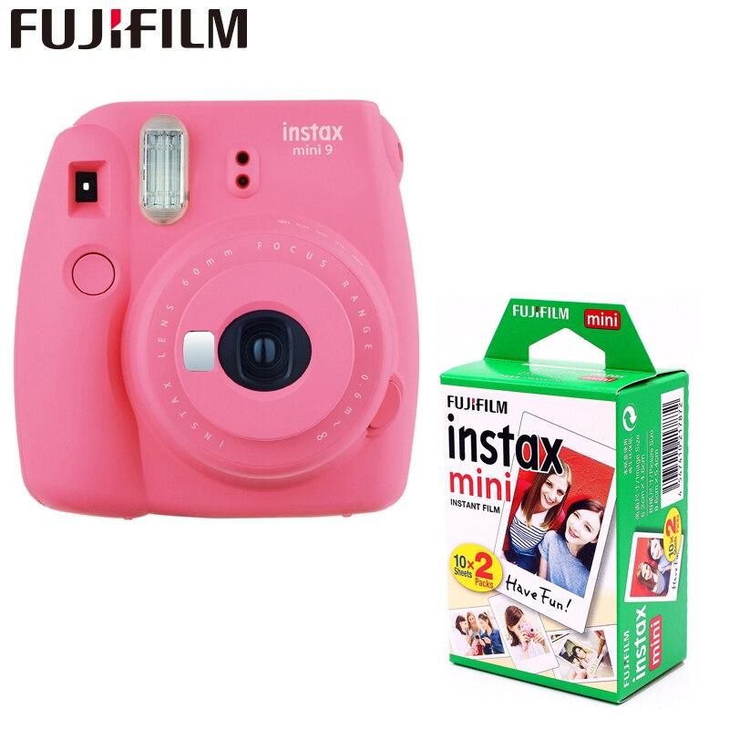 Véritable Fujifilm Instax Mini 9 Appareil Argentique Instantané + 20 feuilles fujifilms blanc bord fuji Photo Caméra Pop-up lentille Automatique 5 couleurs