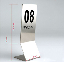 Free shipping Double-Sides stainless steel Restaurant table number card Digital Card seat card holder Hotel desk menu card 1-50 hotel system t5557 card rf stainless steel electronic card hotel door handle locks et800rfs