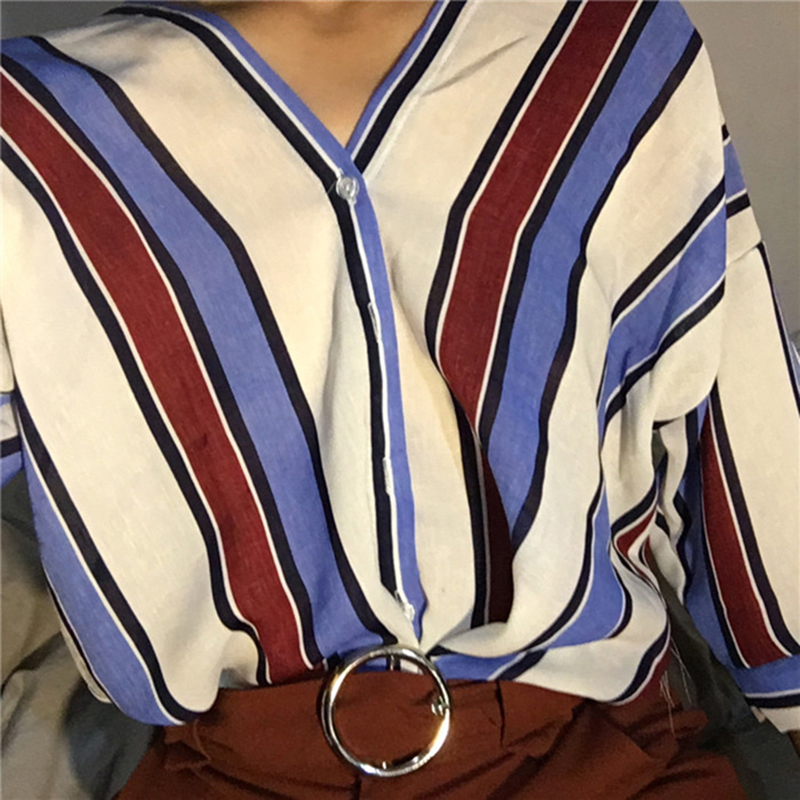 GAOKE Spring Autumn   blouse   fashion casual women stripes   shirt   sexy V-neck batwing sleeve loose   blouse   elegant ladies Tees Tops