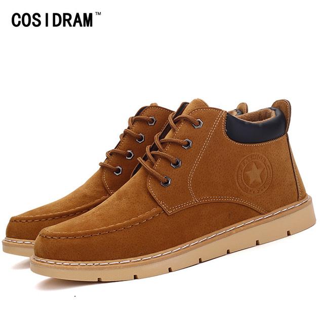 2016 Otoño Invierno Zapatos de Trabajo Botas de Los Hombres de Moda de Cuero de Gamuza Suela de Goma con Cordones Botines Botas Masculinas Ocasionales Hombre BRM-866