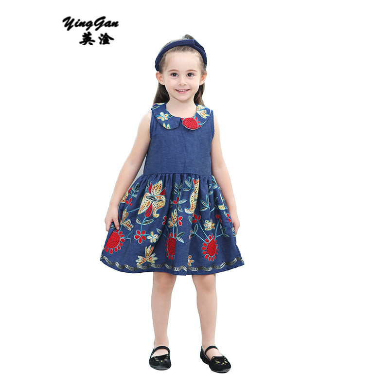 Girls Summer Jeans Dresses Sleeveless Blue Cotton Dress For Little Girl 2017 New Brand Clothing Kids Children Clothes 2-8year 2016 new girls clothes brand baby costume cotton kids dresses for girls striped girl clothing 2 10 year children dress vestidos
