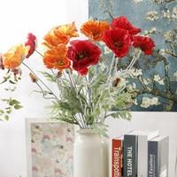 12Pcs/lot free shipping Artificial big Poppy flower fleurs artificielles for Home party Decoration wreath fake silk flowers