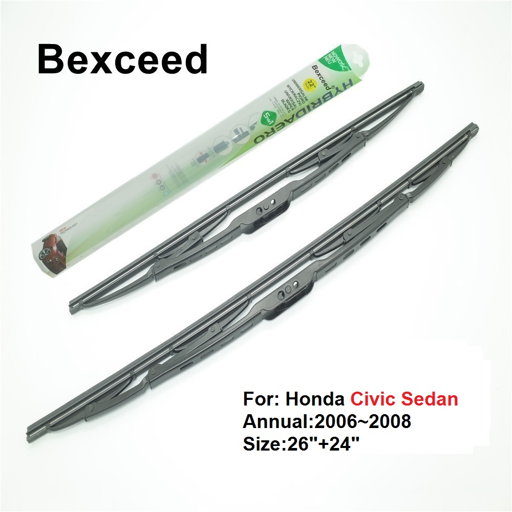 Bexceed of Car Windshield Traditional wiper blade for Honda Civic Sedan. 1 Pair(26+24) 2006~2008