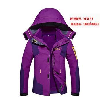 Women's Winter Outdoor Sport 2 in 1 Fleece Jackets Waterproof Thermal Hiking Camping Skiing Climbing Windbreaker Coats M-3XL