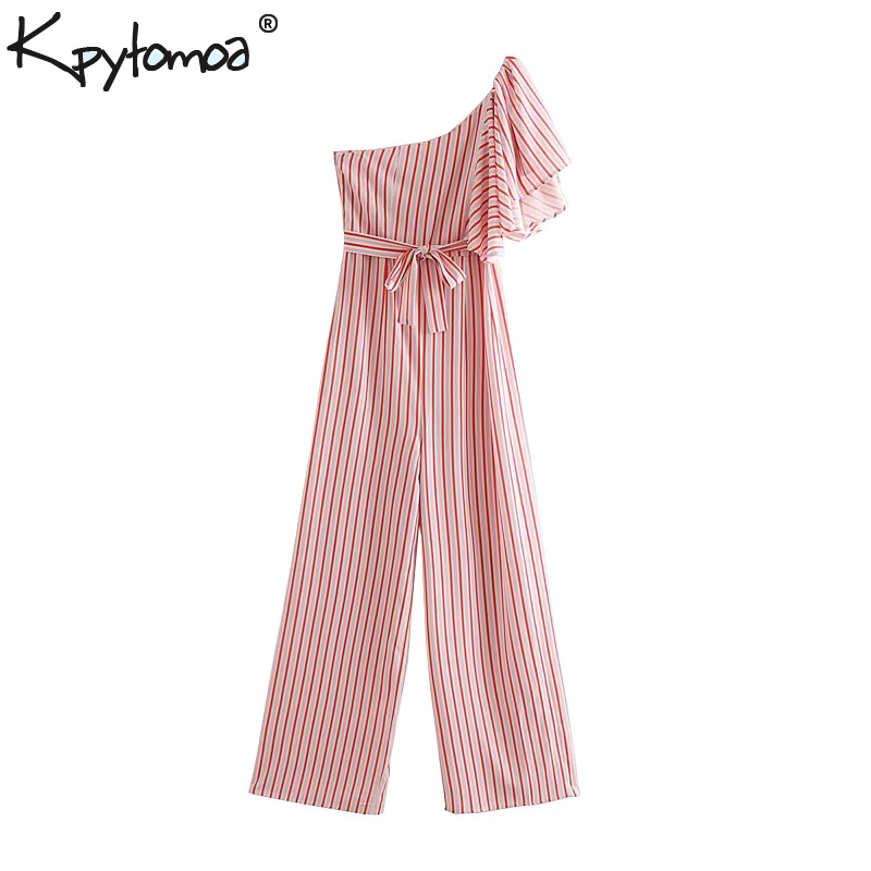 Vintage Stylish Striped One Shoulder Ruffles   Jumpsuits   Women 2019 Fashion With Sashes Side Zipper Rompers Casual Bodysuit Femme