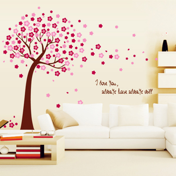 l size pink cherry blossom flower tree wall art decal stickers vinyl