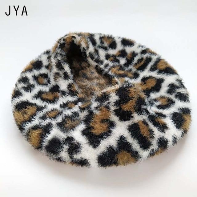 Leopard Beret Acrylic Soft Elastic Women Winter Hat Cap Beret British