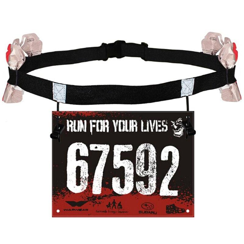 Unisex maratón de triatlón cinta con número para carrera con soporte de Gel Running cinturón de tela cinturón Motor correr deportes al aire libre