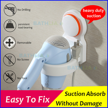 Wall Mounted Storage Rack Sucker Bathroom Rack Suction cup Hair dryer Holder Use For Bathroom Hair dryer Wall Holder Shelf фото