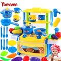 Tumama 39 unids niños casa de juguete de simulación de cocina pretend play juego de corte de alimentos de cocina cocinar bebé vajilla de cocina para niños