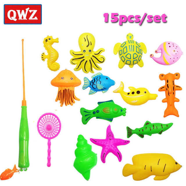 QWZ 15pcs/Set Magnetic Fishing Toy Game Kids 1 Rod 1 net 13 3D Fish Baby Bath Toys Outdoor Fun Game Toy Birthday Gifts