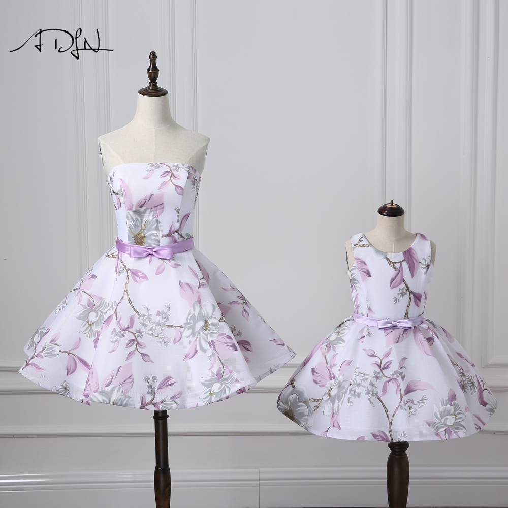 ADLN Strapless A-line Short Mother And Daughter Dress Floral Print Formal Evening Gown  2019