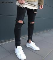 Mens Side Ankle Zipper Jeans Kanye West Skinny Stretchy Destroyed Distressed Knee Ripped Jeans With Holes