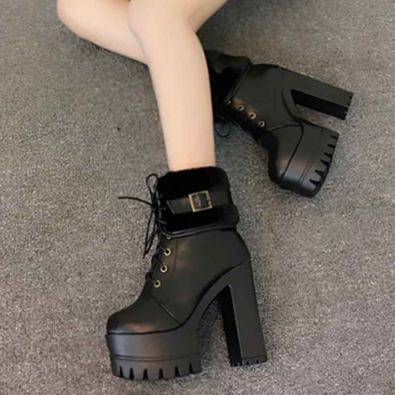 2017 autumn and winter new dance T Taiwan 13cm high with the women's shoes Thick rough with catwalk nightclub short boots dunlop winter maxx wm01 205 65 r15 t