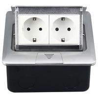 145 mm hid type double plug European standard floor power outlet aluminum alloy double European socket 250V 16A 145 02
