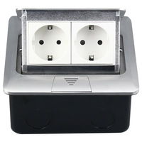 145 mm hid type double plug European standard floor power outlet aluminum alloy double European socket 250V 16A 145 02