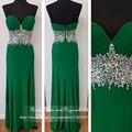 Real fotos 2017 longo verde esmeralda prom dress querida neck off the shoulder rhinestone plissada chiffon da sereia vestidos de baile