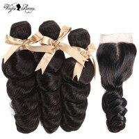Queen Virgin Remy бразильские волосы плетение пучки с закрытием свободные волнистые в наборе с закрытием Remy человеческие волосы с закрытием кружев