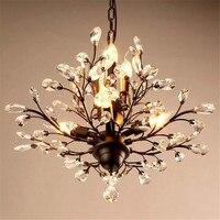 Luxe Europa Glans K9 Kristallen Kroonluchter retro black metal droplight voor Hotel Decoratie Armatuur Opknoping Lamp