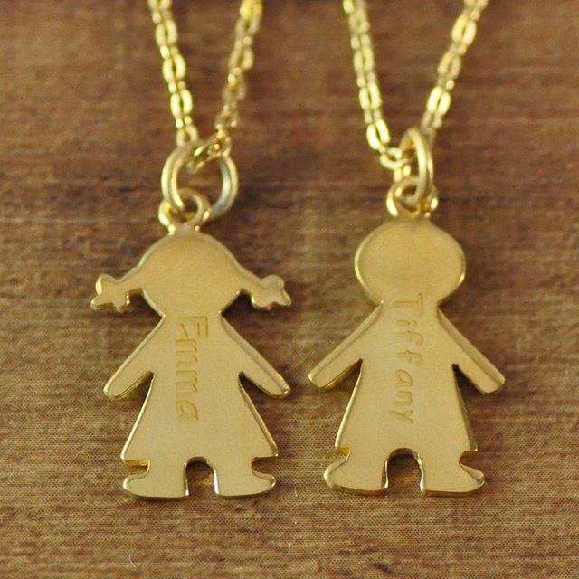 Gold Color Mother's Necklace with Engraved Children Charms baby necklace
