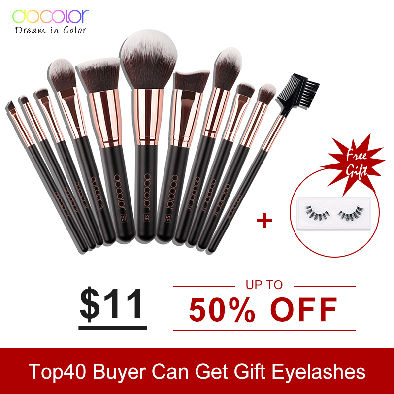 Docolor 11PCS Professional Makeup Brushes Set Powder Foundation Eyeshadow Make Up Brushes Cosmetics Soft Synthetic Hair anmor make up brushes professional powder duo fibre eyeshadow makeup tool synthetic makeup brushes set with black bag