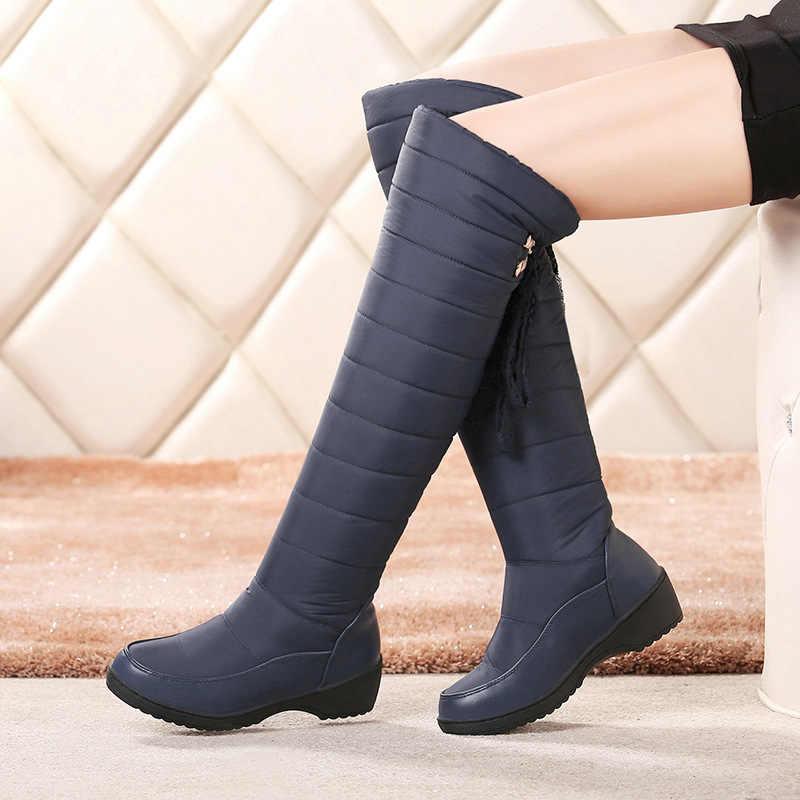 Femmes hiver sur le genou Bottes hautes femme imperméable à l'eau vers le bas bouffée Bottes de neige plate-forme frange épaisse en peluche dames chaussures Bottes