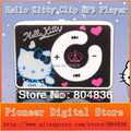 Hot sale 10pcs/lot 100% New Band cheapest fashion mini clip hello Kitty MP3 player support TF card No Box 5 color Free shipping
